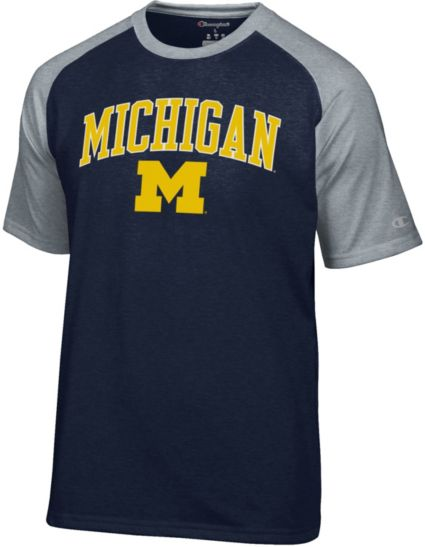 Champion Men's Michigan Wolverines Blue Word Logo T-Shirt