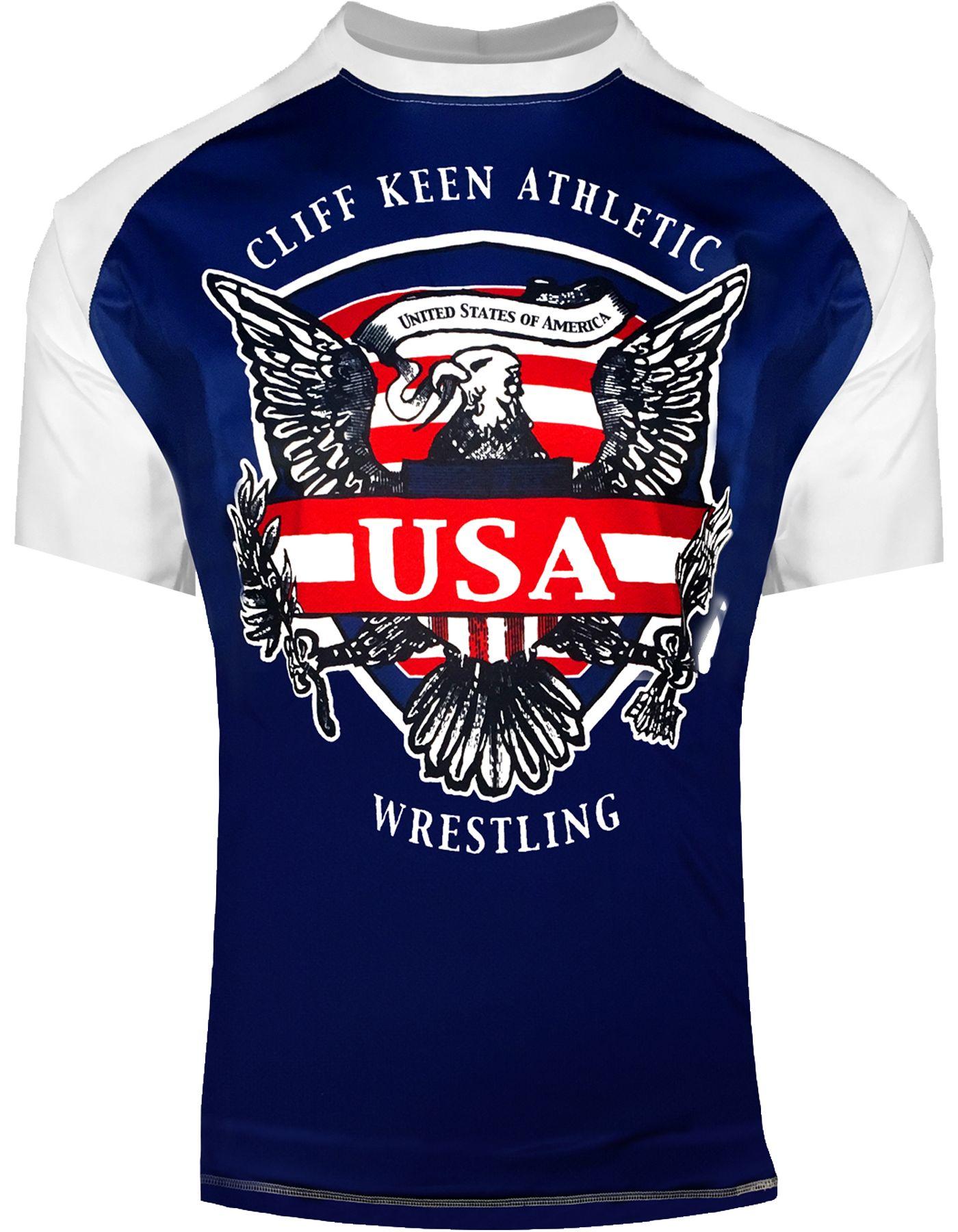 Cliff Keen Adult Historic Eagle Loose Short-Sleeve Sublimated Wrestling Top