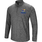 Colosseum Men's Kansas Jayhawks Grey Action Pass Quarter-Zip Shirt