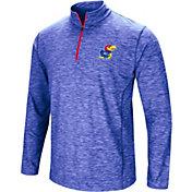 Colosseum Men's Kansas Jayhawks Blue Action Pass Quarter-Zip Shirt