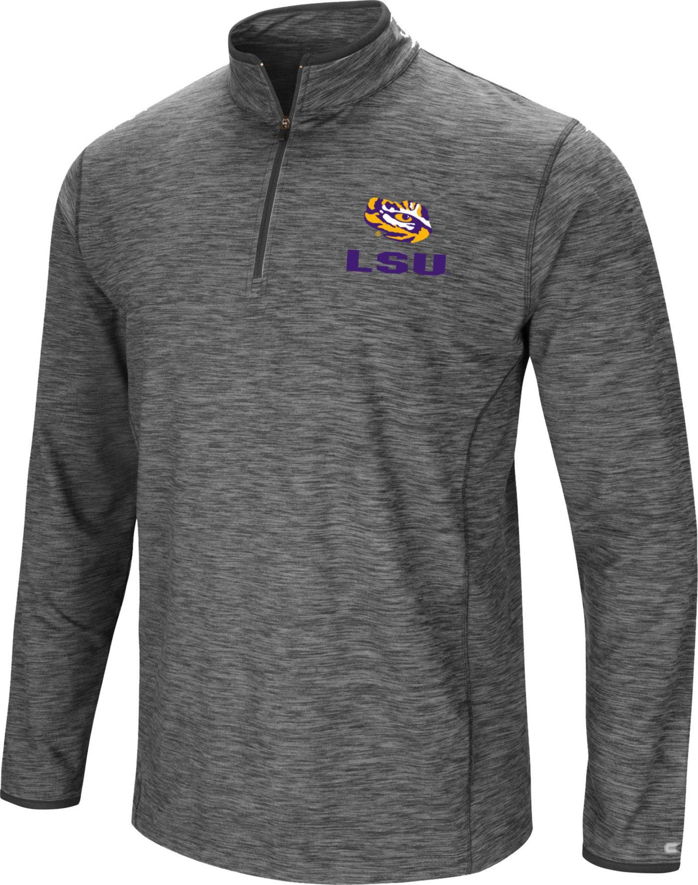 Colosseum Men's LSU Tigers Grey Action Pass Quarter-Zip Shirt