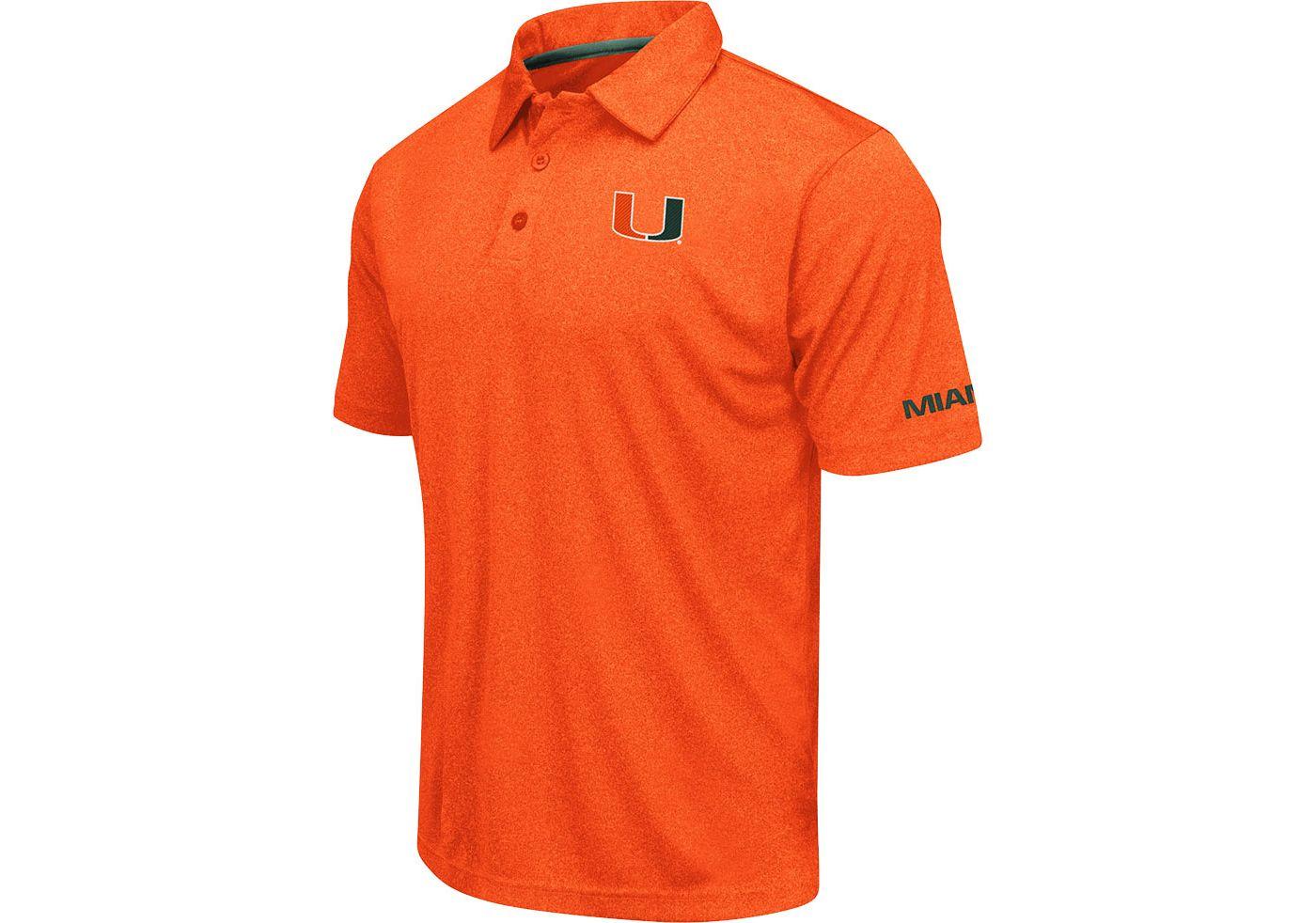 Colosseum Men's Miami Hurricanes Orange Axis Polo