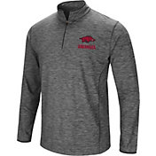 Colosseum Men's Arkansas Razorbacks Grey Action Pass Quarter-Zip Shirt