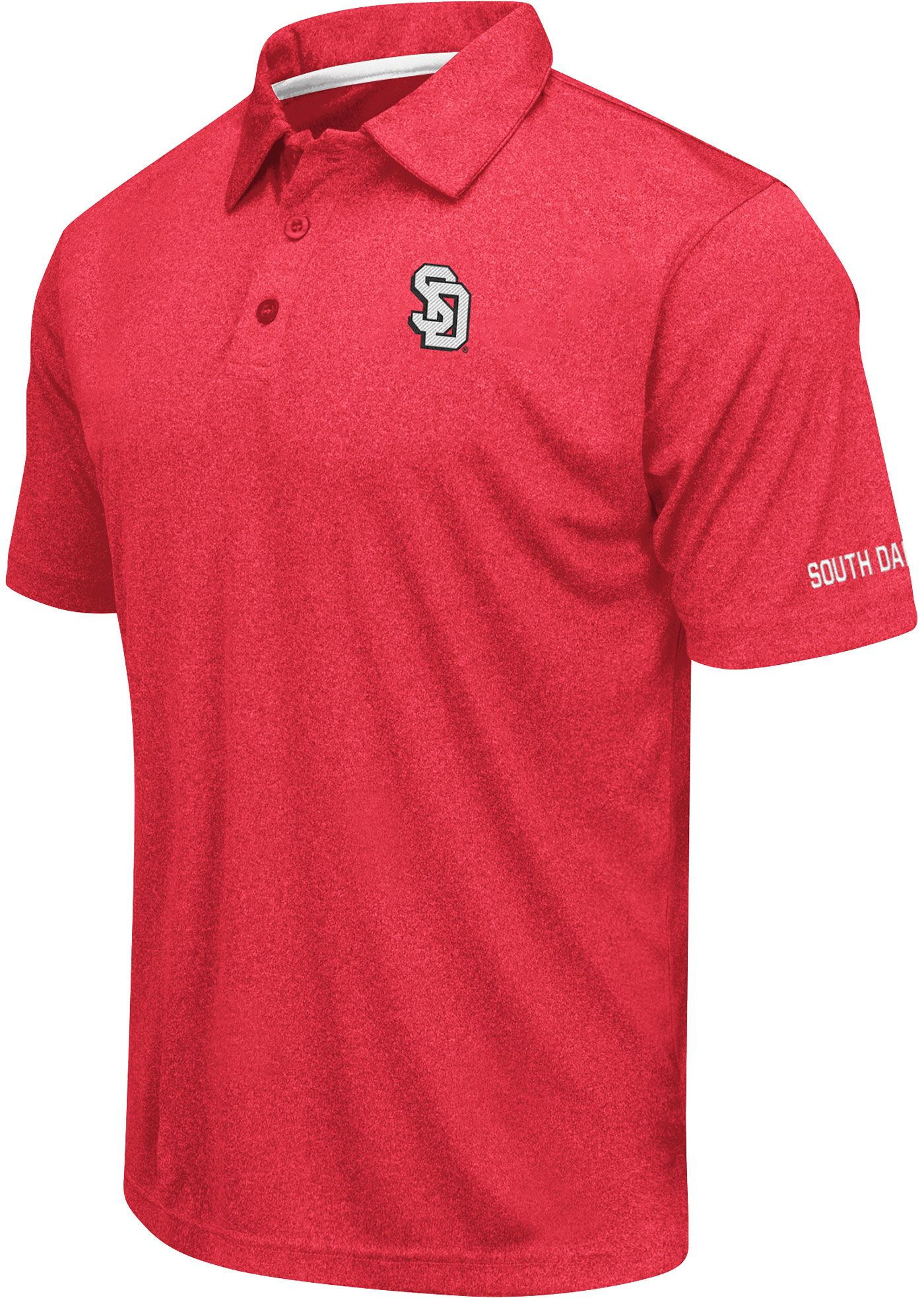 Colosseum Men's South Dakota Coyotes Red Axis Polo