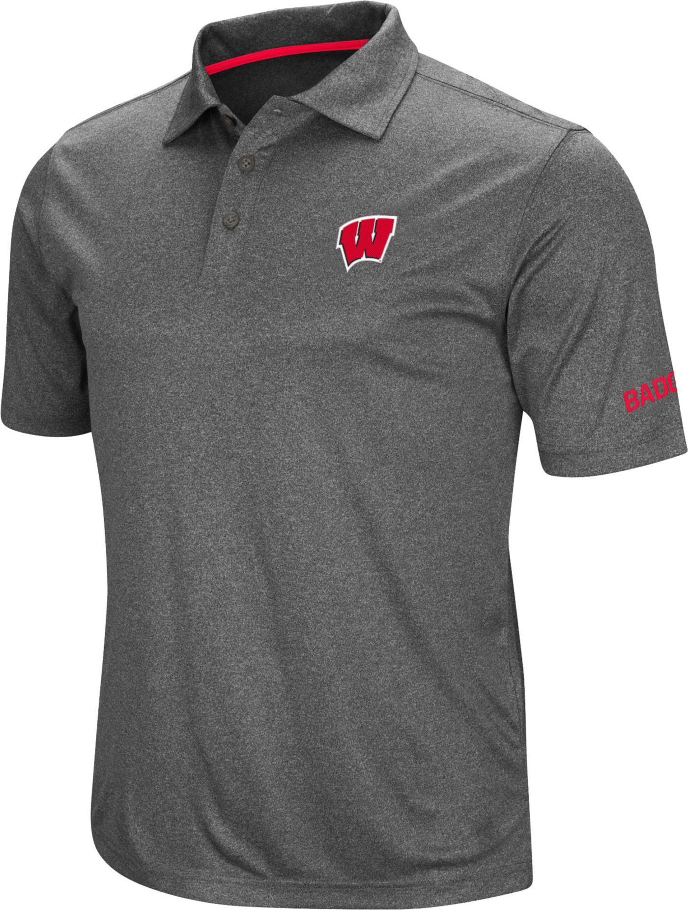 Colosseum Men's Wisconsin Badgers Grey Cut Shot Polo