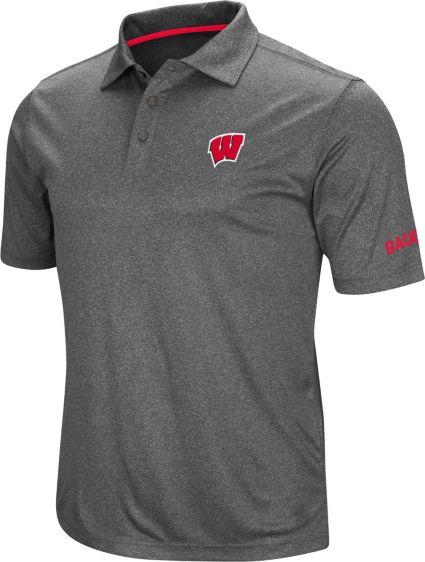 Colosseum Men's Wisconsin Badgers Grey Cut Shot Polo