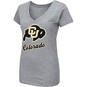 Colosseum Women's Colorado Buffaloes Grey Dual Blend V-Neck T-Shirt