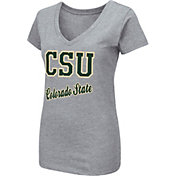 Colosseum Women's Colorado State Rams Grey Dual Blend V-Neck T-Shirt