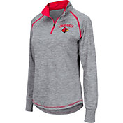 Colosseum Women's Louisville Cardinals Grey Bikram Quarter-Zip Top