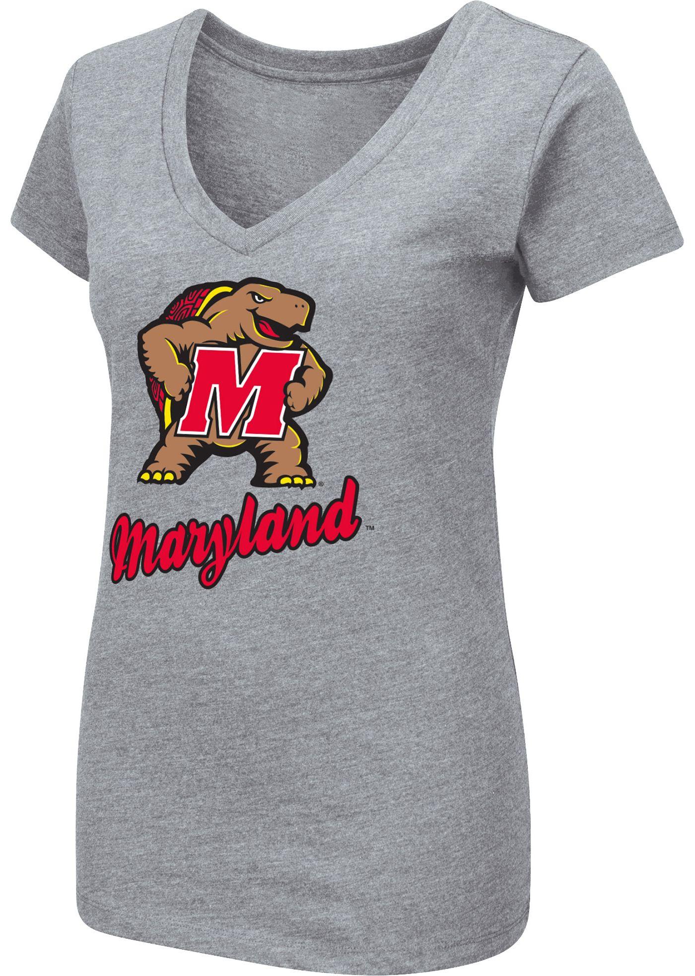 Colosseum Women's Maryland Terrapins Grey Dual Blend V-Neck T-Shirt