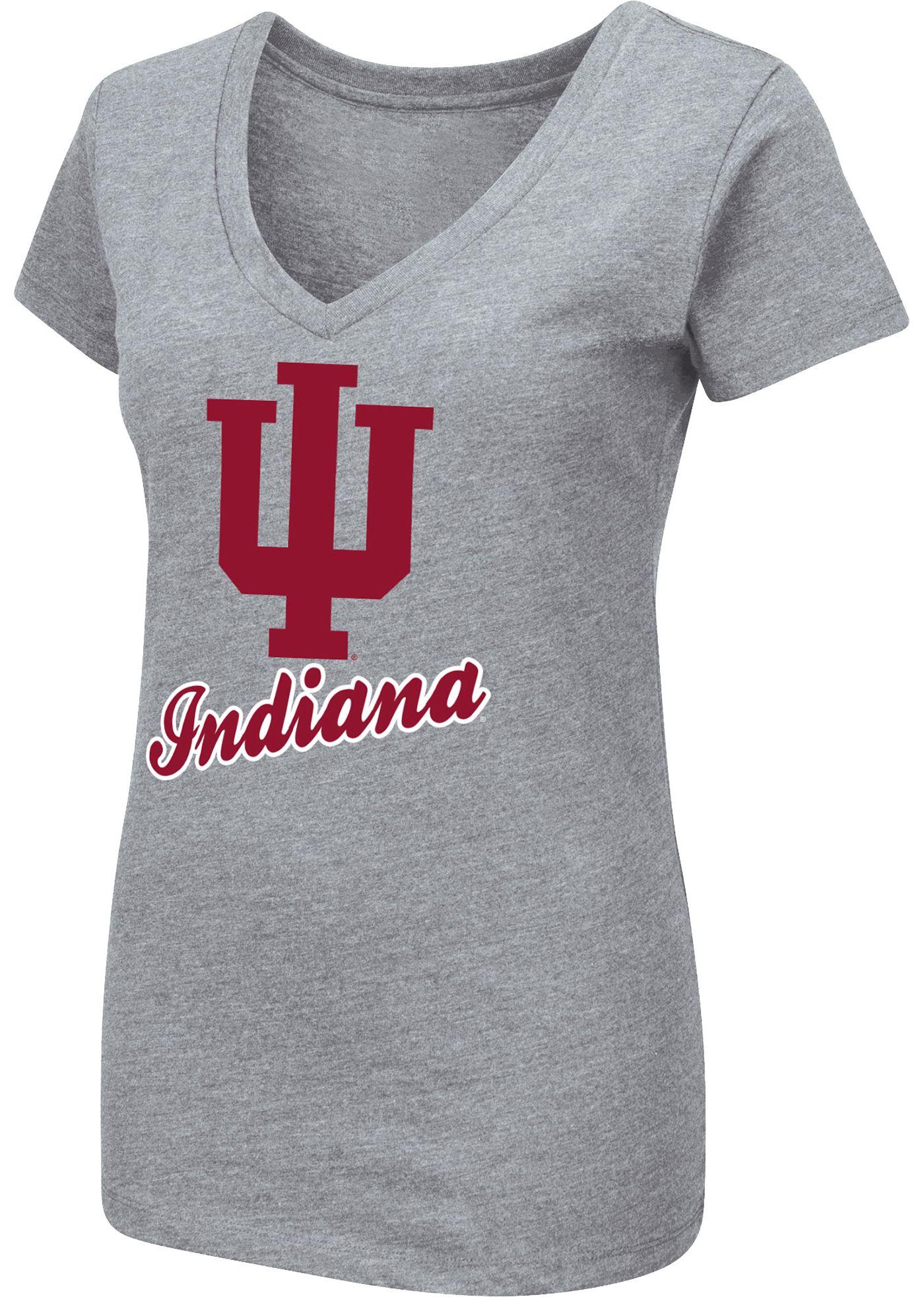 Colosseum Women's Indiana Hoosiers Grey Dual Blend V-Neck T-Shirt
