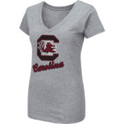 Colosseum Women's South Carolina Gamecocks Grey Dual Blend V-Neck T-Shirt