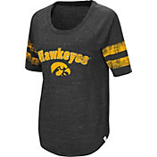 Colosseum Women's Iowa Hawkeyes Bean Babbitt Raglan Black T-Shirt