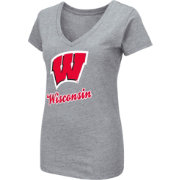 Colosseum Women's Wisconsin Badgers Grey Dual Blend V-Neck T-Shirt