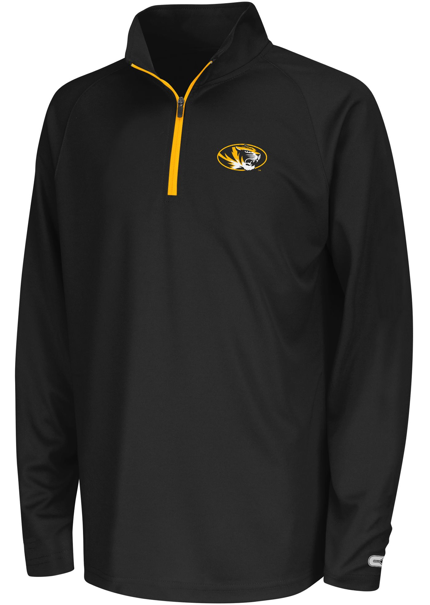 Colosseum Youth Missouri Tigers Black Draft Performance Quarter-Zip