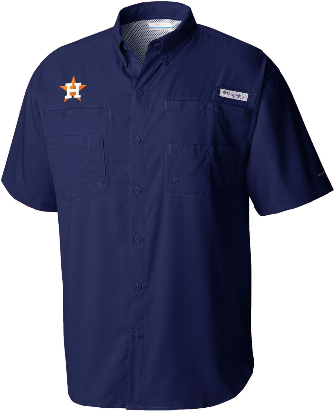 988c2e7a4e8 Columbia Men's Houston Astros Navy Tamiami Performance Short Sleeve Shirt 1