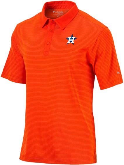 Columbia Men's Houston Astros Orange Striped Polo