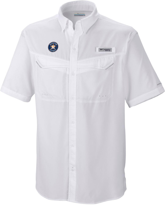 sports shoes 49de5 0121a Columbia Men's Houston Astros Low Drag Offshore Performance Short Sleeve  Shirt