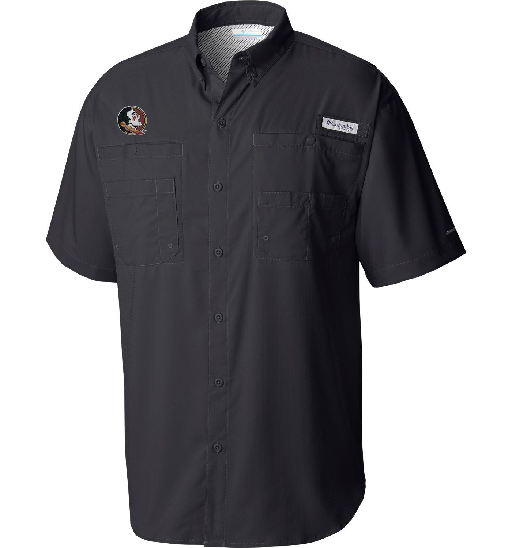 Columbia Men's Florida State Seminoles Grey Tamiami Short Sleeve Shirt