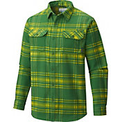 Columbia Men's Oregon Ducks Green Plaid Flare Gun Flannel Long Sleeve Shirt