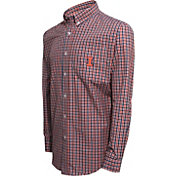 Campus Specialties Men's Illinois Fighting Illini Blue Multi-Checkered Woven Long Sleeve Shirt