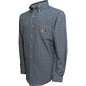 Campus Specialties Men's Miami Hurricanes Green Multi-Checkered Woven Long Sleeve Shirt
