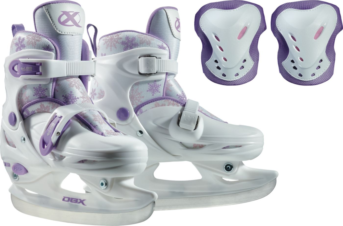 DBX Girls' Adjustable Ice Skates Package