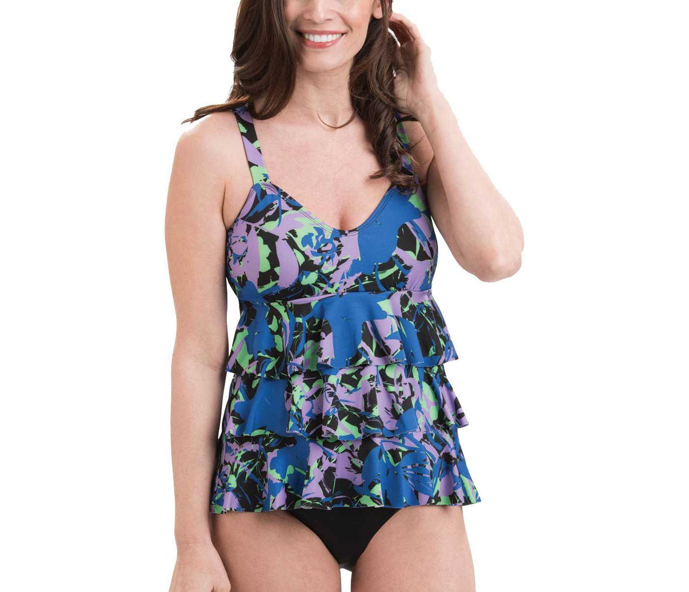 Dolfin Women's Aquashape Blue Eden Ruffle Swimsuit