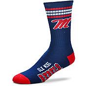 For Bare Feet Ole Miss Rebels 4-Stripe Deuce Crew Socks