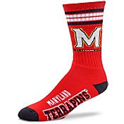 For Bare Feet Maryland Terrapins 4-Stripe Deuce Crew Socks