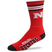 For Bare Feet Nebraska Cornhuskers 4-Stripe Deuce Crew Socks