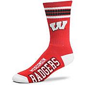 For Bare Feet Wisconsin Badgers 4-Stripe Deuce Crew Socks