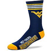 For Bare Feet West Virginia Mountaineers 4-Stripe Deuce Crew Socks