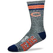 For Bare Feet Chicago Bears 4-Stripe Deuce Marbled Crew Socks