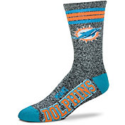 For Bare Feet Miami Dolphins 4-Stripe Deuce Marbled Crew Socks