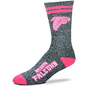 For Bare Feet Atlanta Falcons Women's 2-Stripe Melange Crew Socks