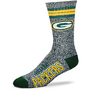 For Bare Feet Green Bay Packers 4-Stripe Deuce Marbled Crew Socks
