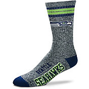 For Bare Feet Seattle Seahawks 4-Stripe Deuce Marbled Crew Socks