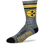 For Bare Feet Pittsburgh Steelers 4-Stripe Deuce Marbled Crew Socks