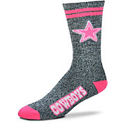 For Bare Feet Dallas Cowboys Women's 2-Stripe Melange Crew Socks