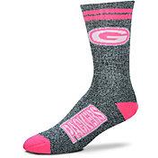 For Bare Feet Green Bay Packers Women's 2-Stripe Melange Crew Socks