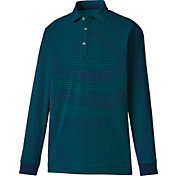 FootJoy Men's Long Sleeve Thermolite Jersey Stripe Golf Polo
