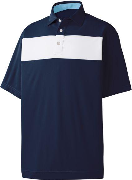 FootJoy Men's Smooth Pique Pieced Stripe Golf Polo
