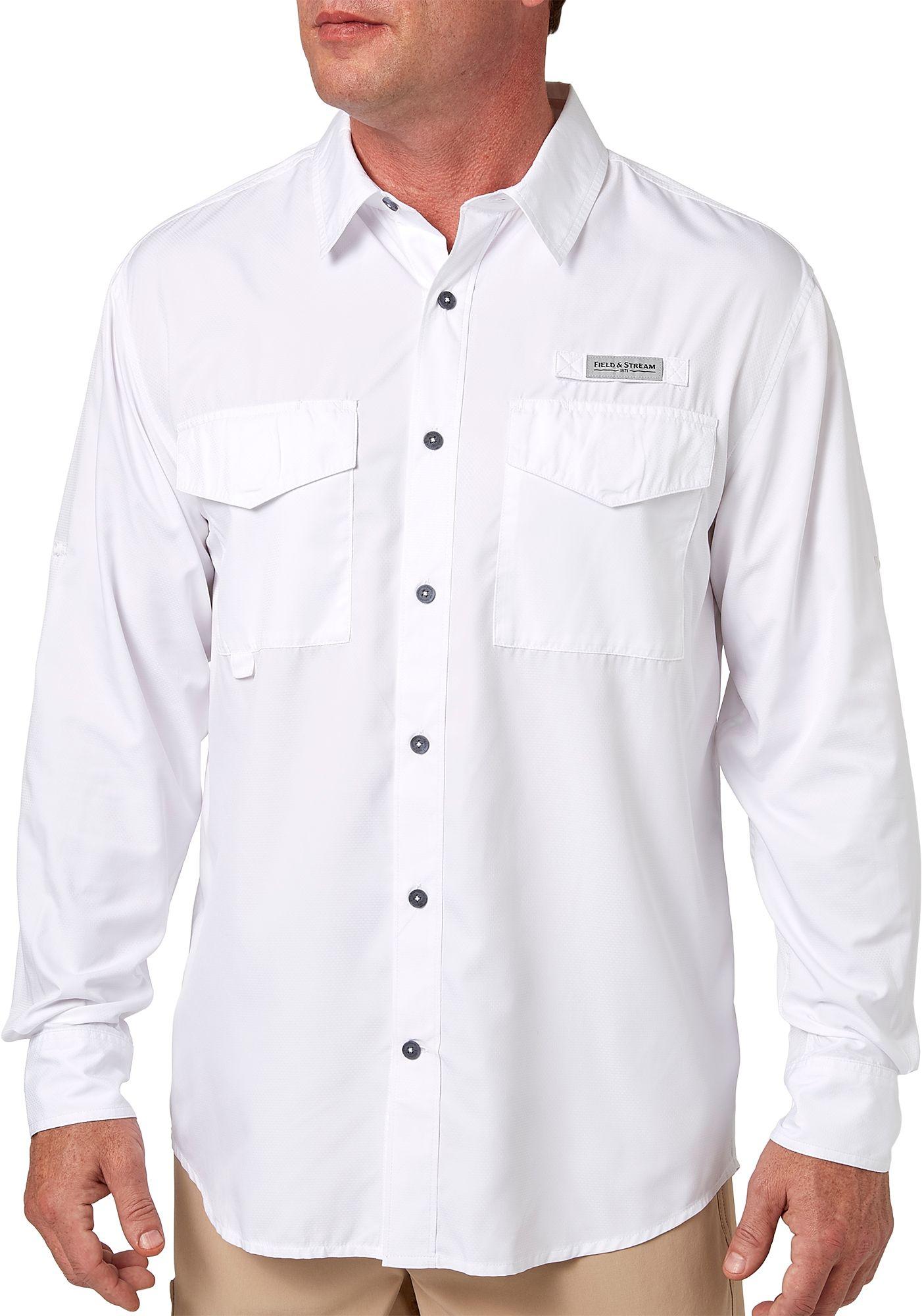 Field & Stream Men's Long Sleeve Latitude Fishing Shirt (Regular and Big & Tall), Medium, Bright White