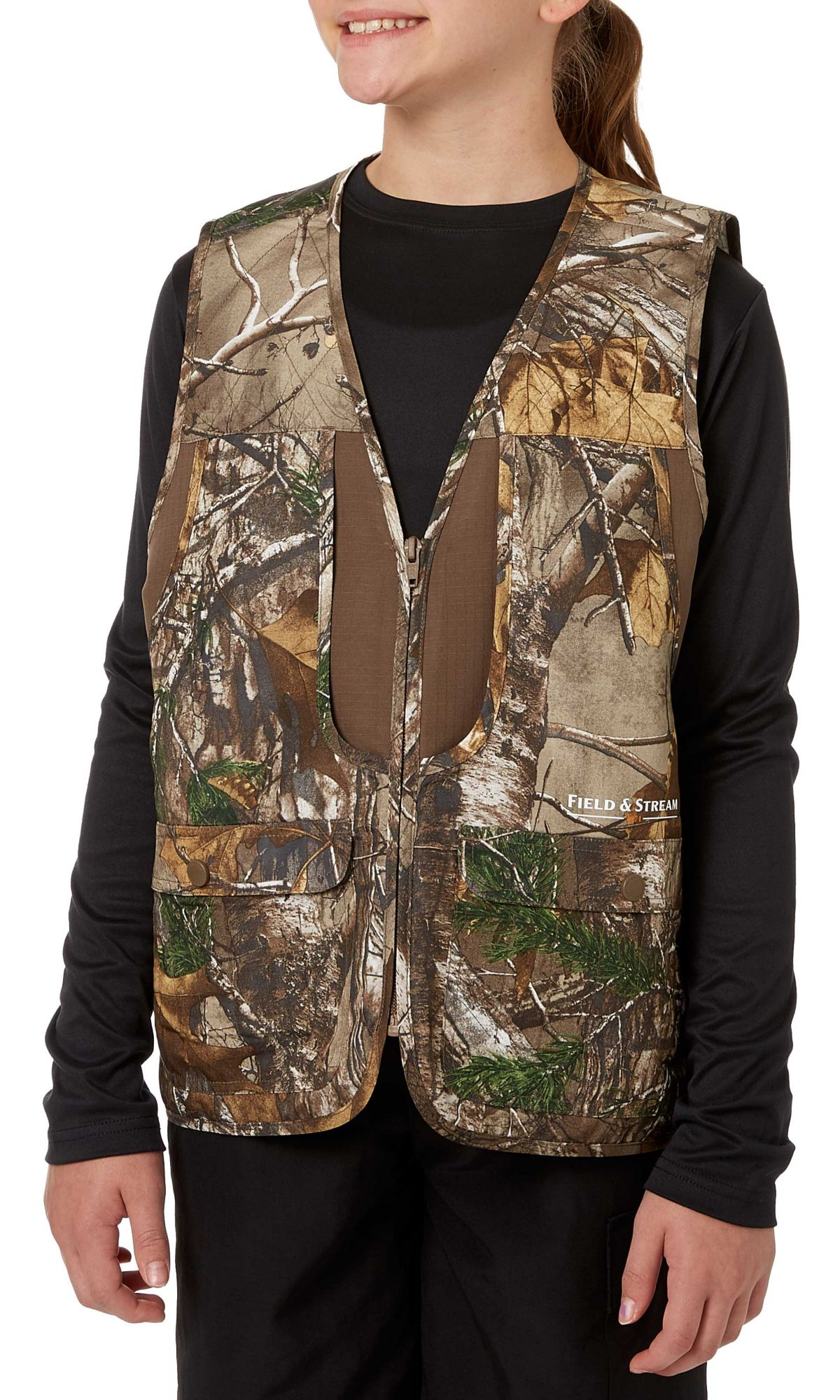 Field & Stream Youth Camo Front Loader Vest, Size: Medium, Brown thumbnail