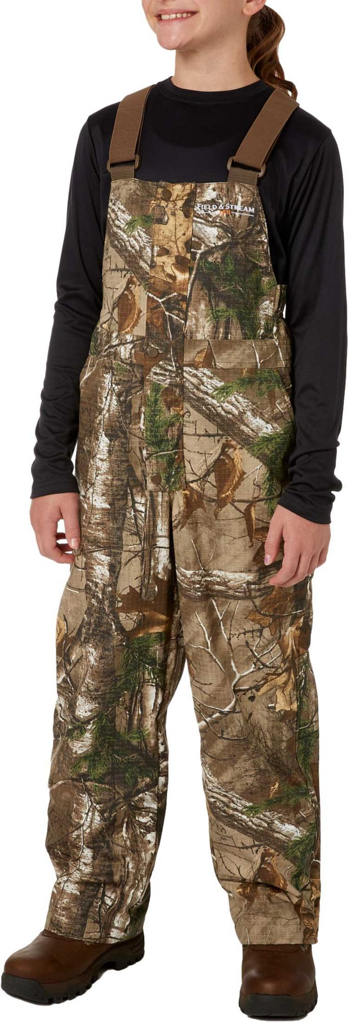 Field & Stream Youth Ripstop Hunting Bibs, Size: XL, Brown thumbnail