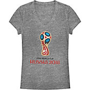 d0ad60a5b Fifth Sun Women s FIFA 2018 World Cup Russia World Cup Trophy Logo Grey T- Shirt