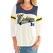 G-III For Her Women's Michigan Wolverines White Endzone Three-Quarter Sleeve T-Shirt