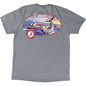 Guy Harvey Men's Alabama Crimson Tide Heathered Grey Fishing Club T-Shirt