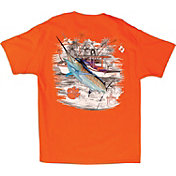 Guy Harvey Men's Clemson Tigers Orange Collegiate Boat T-Shirt